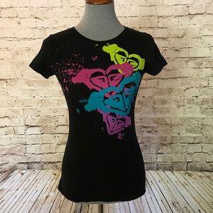 Roxy TShirt Black Neon Splatter Pink Purple Blue S